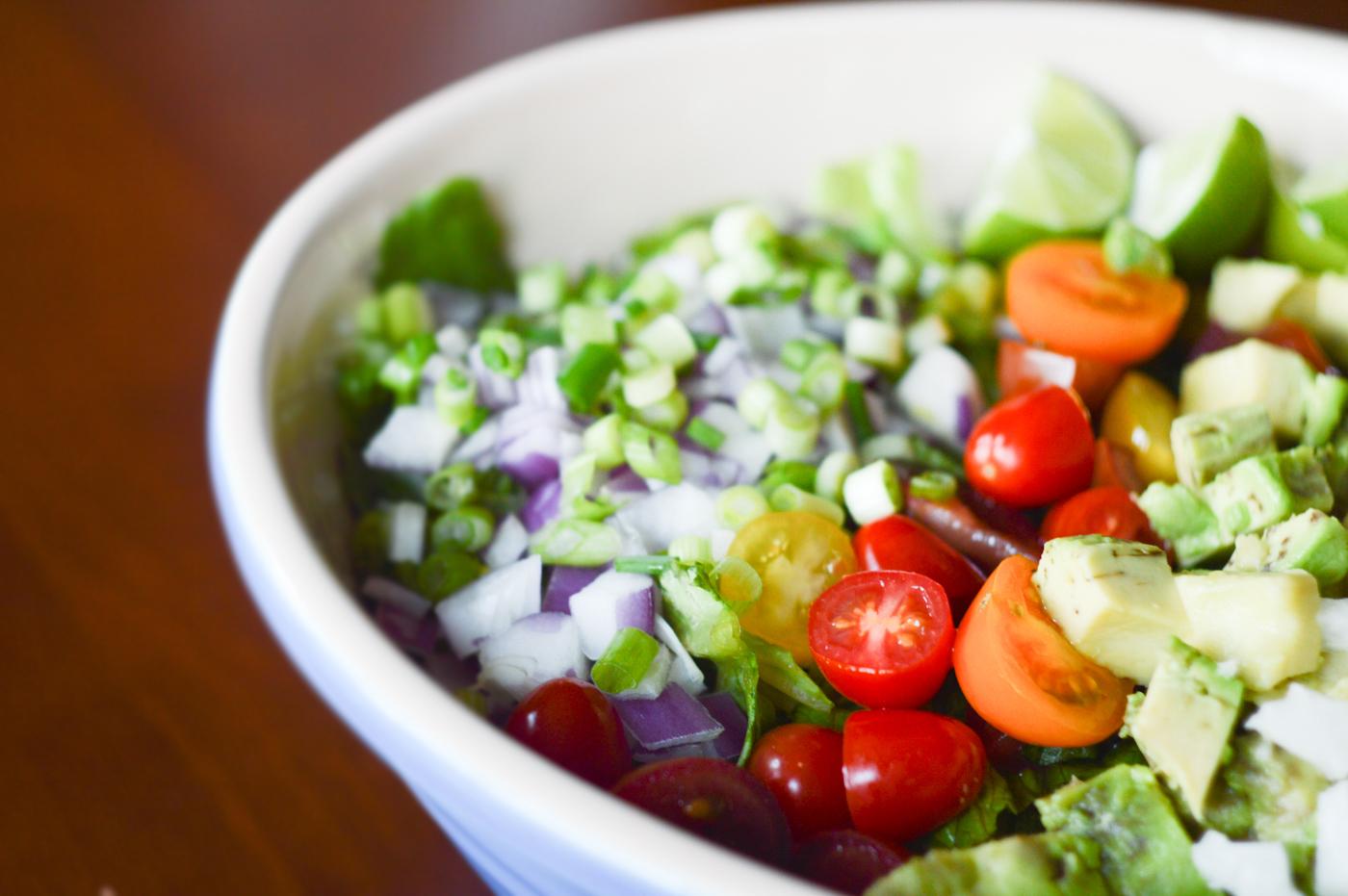 Chopped Salad recipe via Birdie Shoots