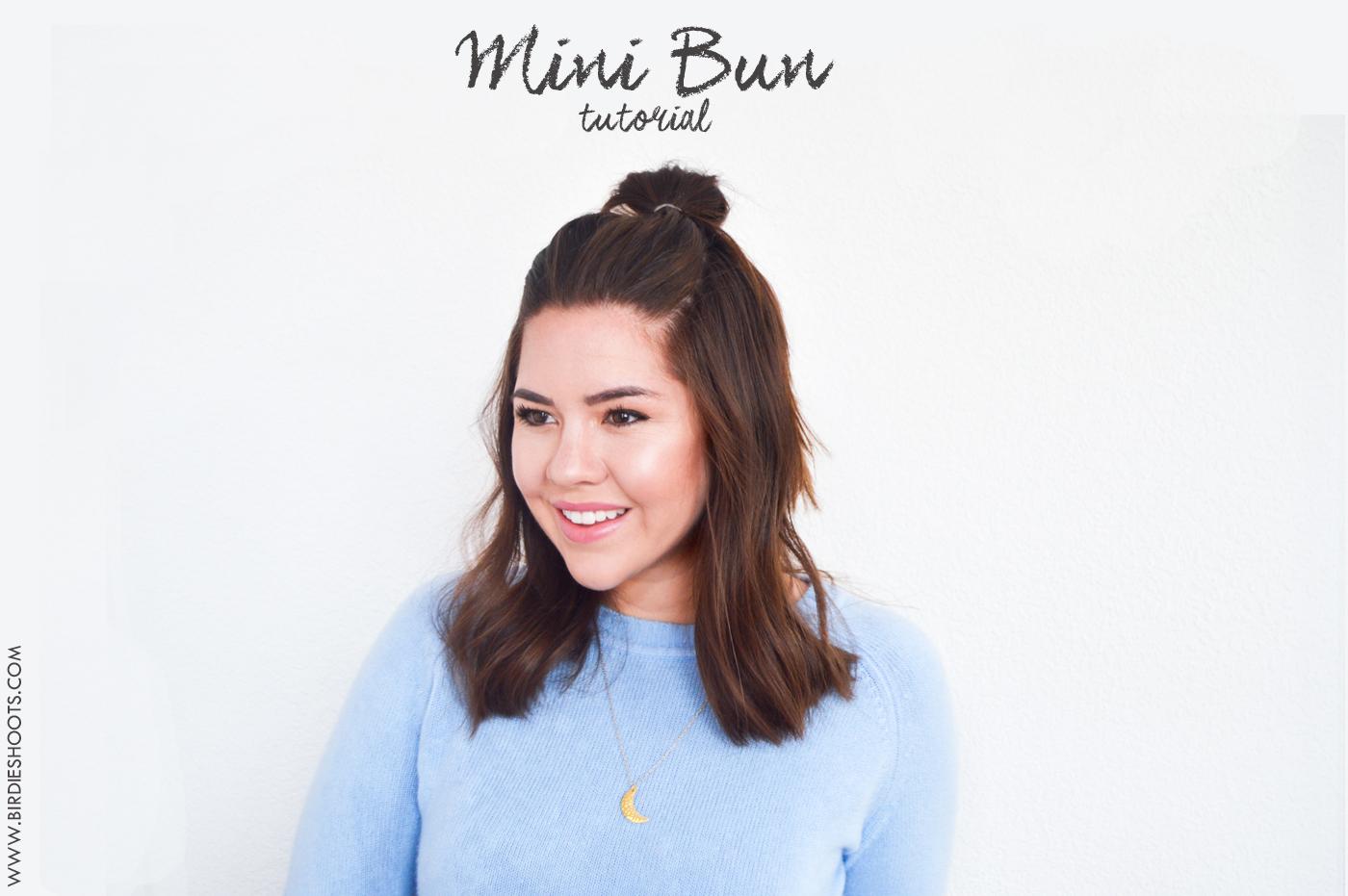 Short Style, Mini Bun Hair Tutorial via. Birdie Shoots