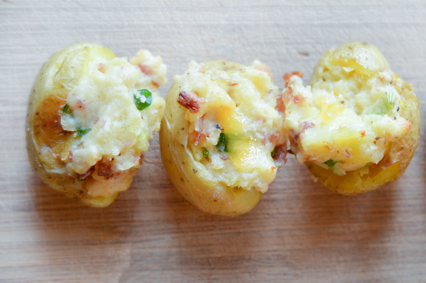 Bite-Size Twice Baked Potatoes via. Birdie Shoots