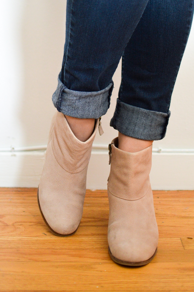 How To Style Ankle Boots with Denim via. Birdie Shoots
