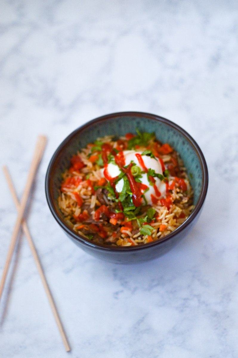 Tri-Tip Fried Rice with Poached Egg via. Birdie Shoots