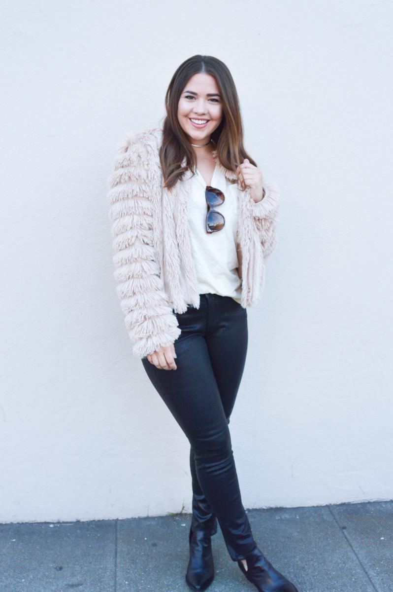 Furry Pink Jacket for Fall via. www.birdieshoots.com
