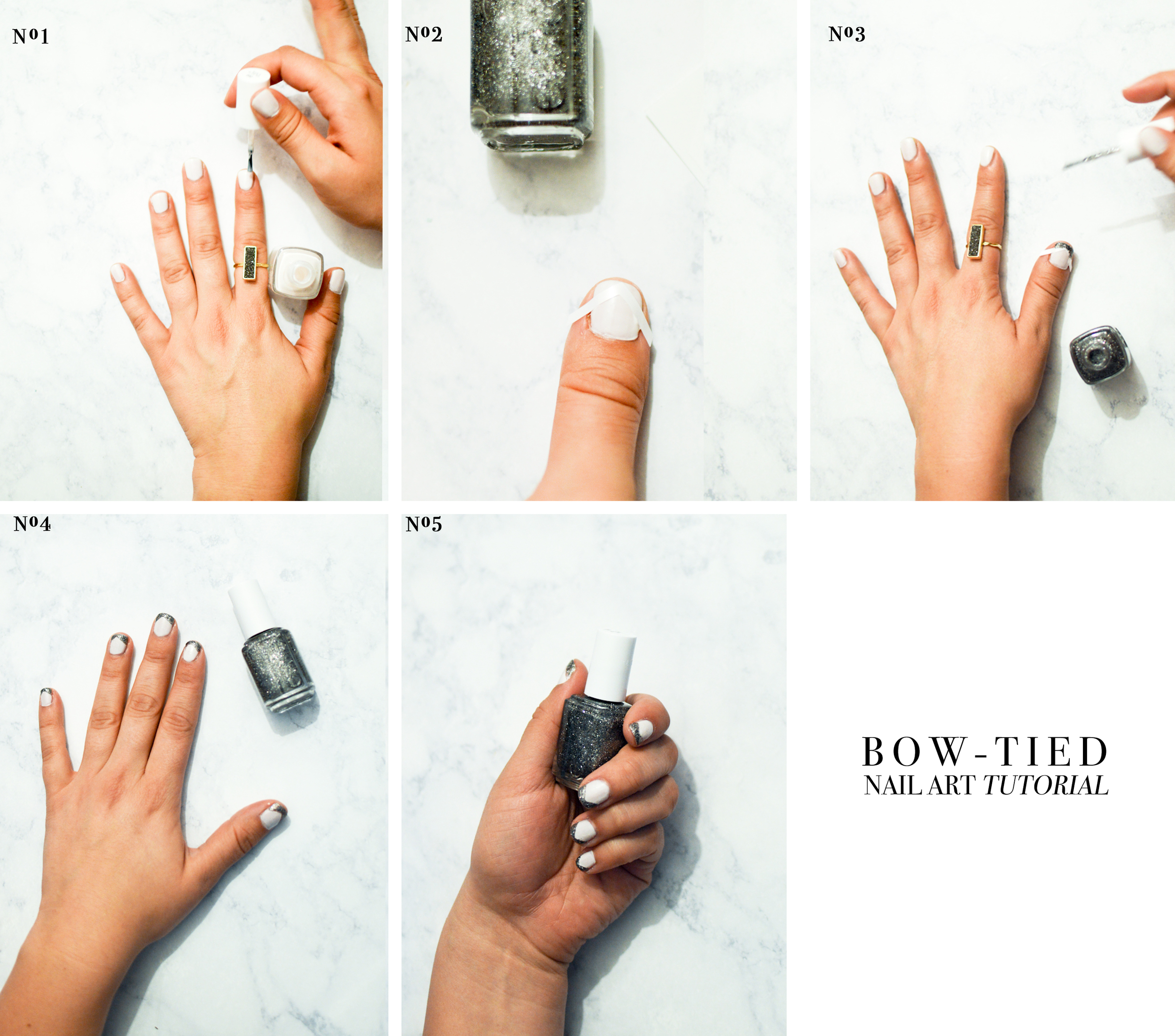 Bow-tied nail art tutorial via. Birdie Shoots