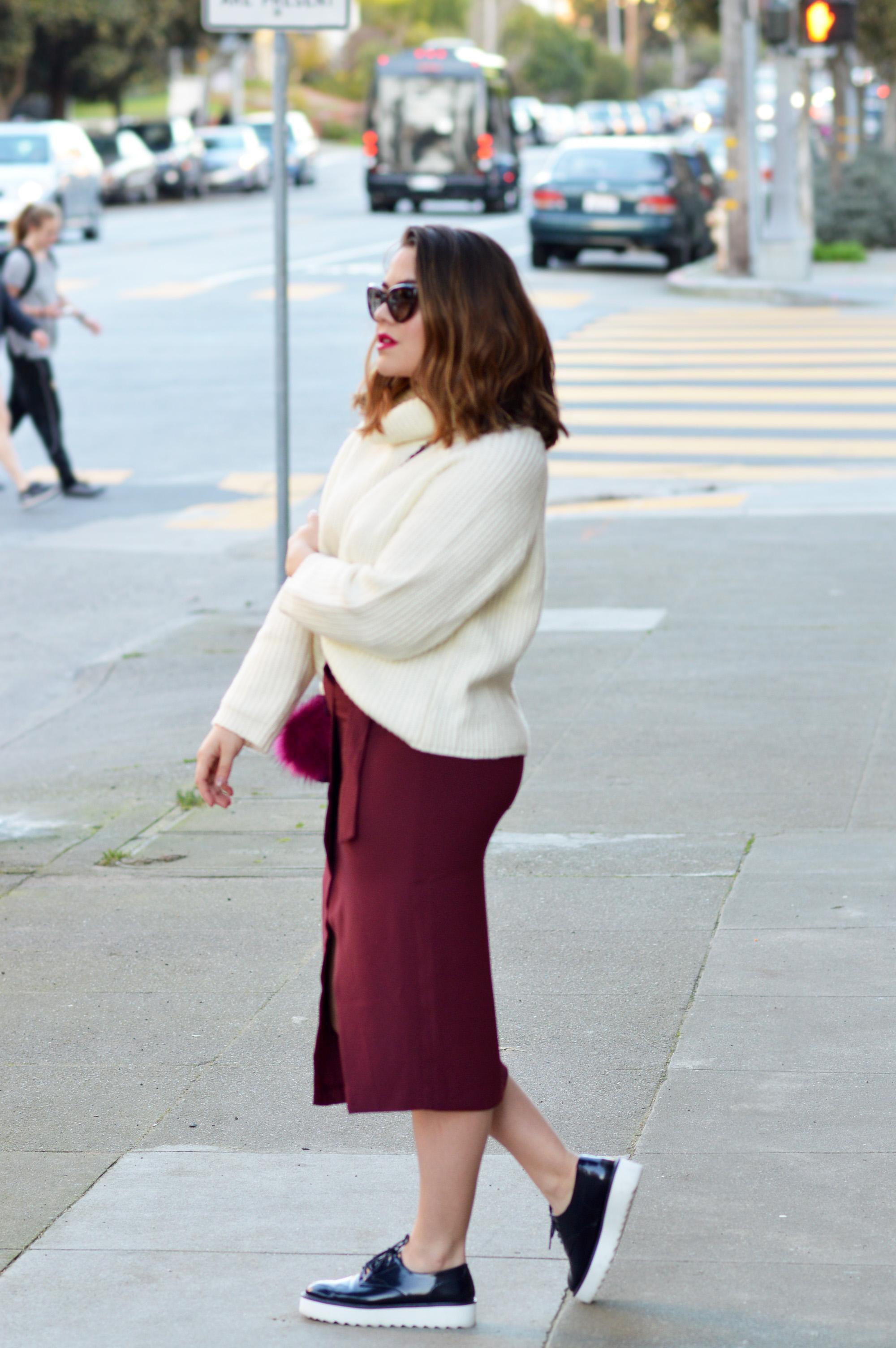 Colors of the Season, Maroon Skirt and Oversized Sweater via. www.birdieshoots.com