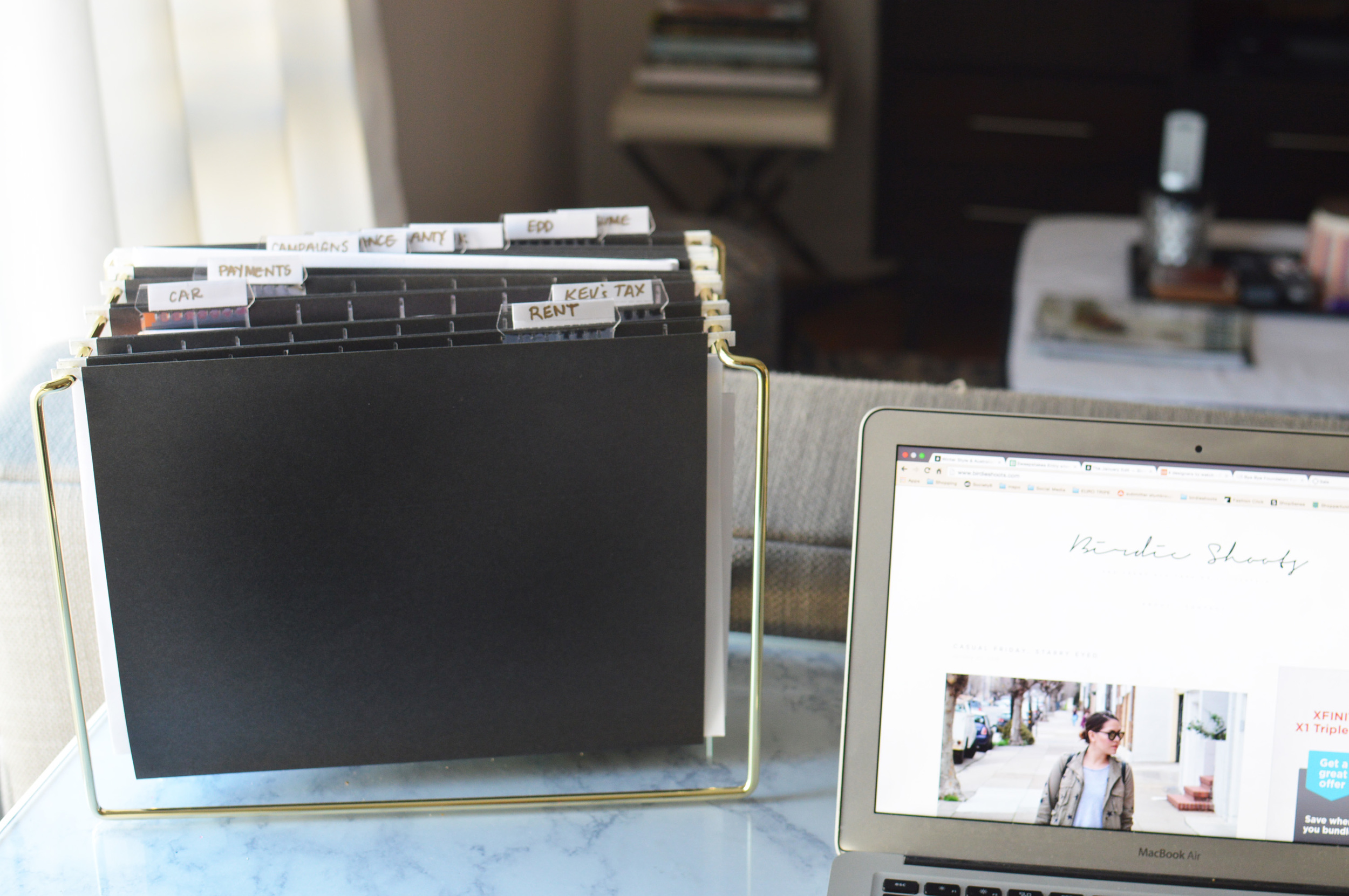 Organizing  a home office space via. www.birdieshoots.com