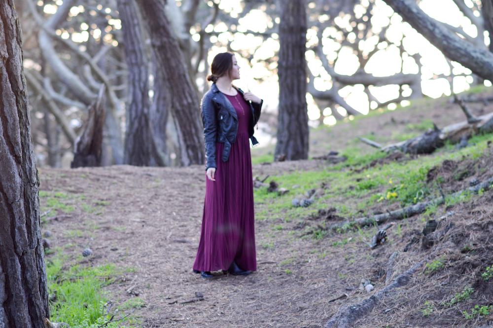 Love Spell, Maroon Maxi Dress via. www.birdieshoots.com
