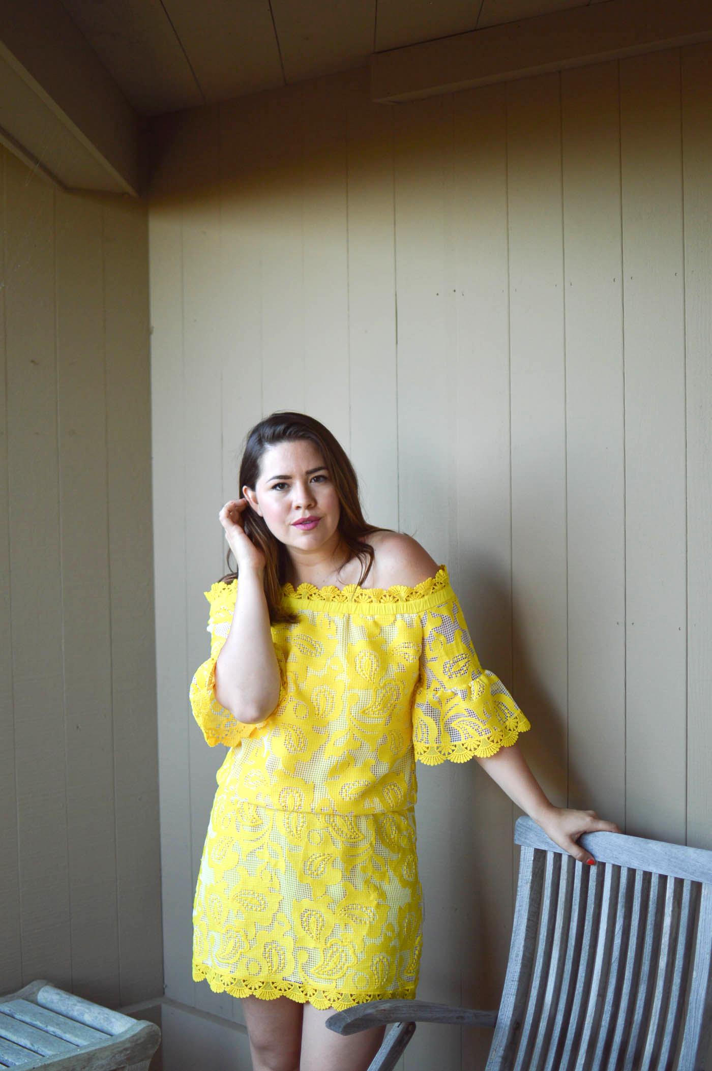 Alexis Yellow Lace Dress via. www.birdieshoots.com