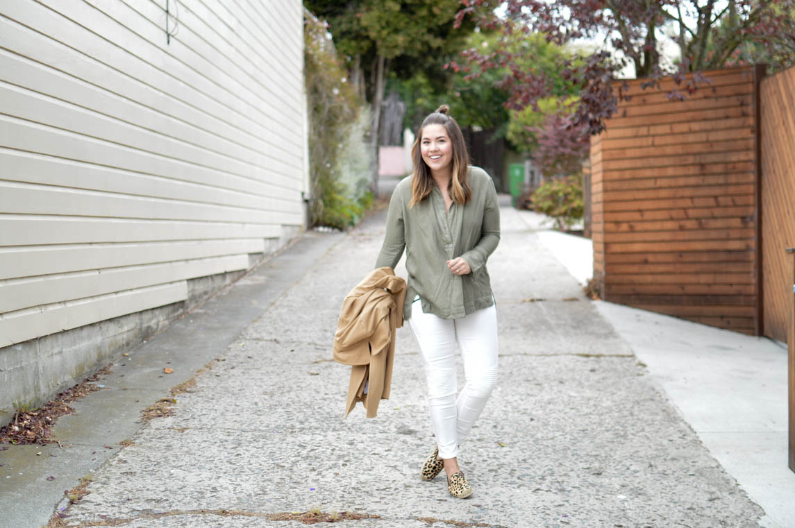 Urban Safari, White Pants, Olive Free People Shirt via. www.birdieshoots.com