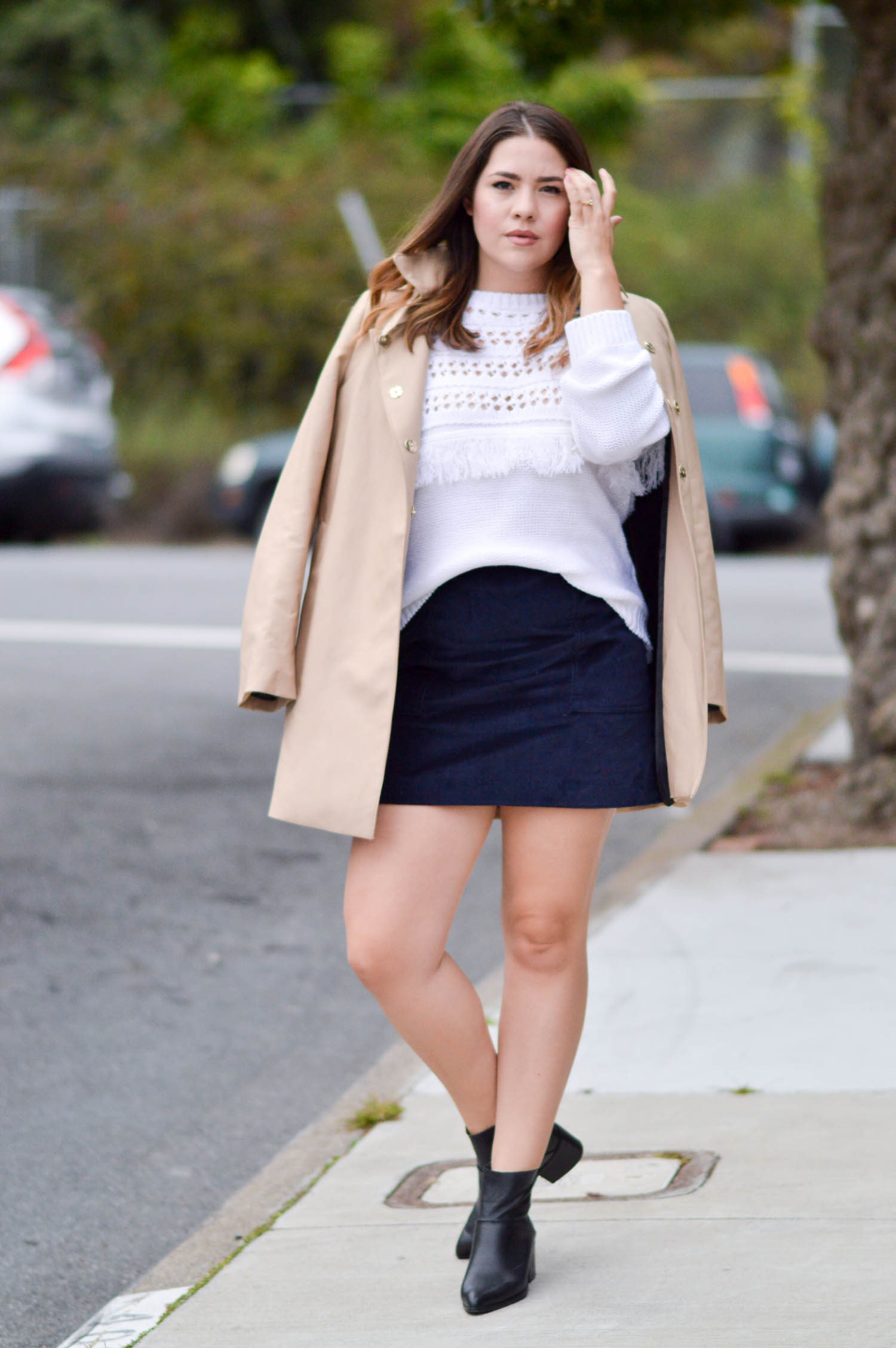 Fall Preview, Fringe Sweater and Velvet Skirt via. www.birdieshoots.com