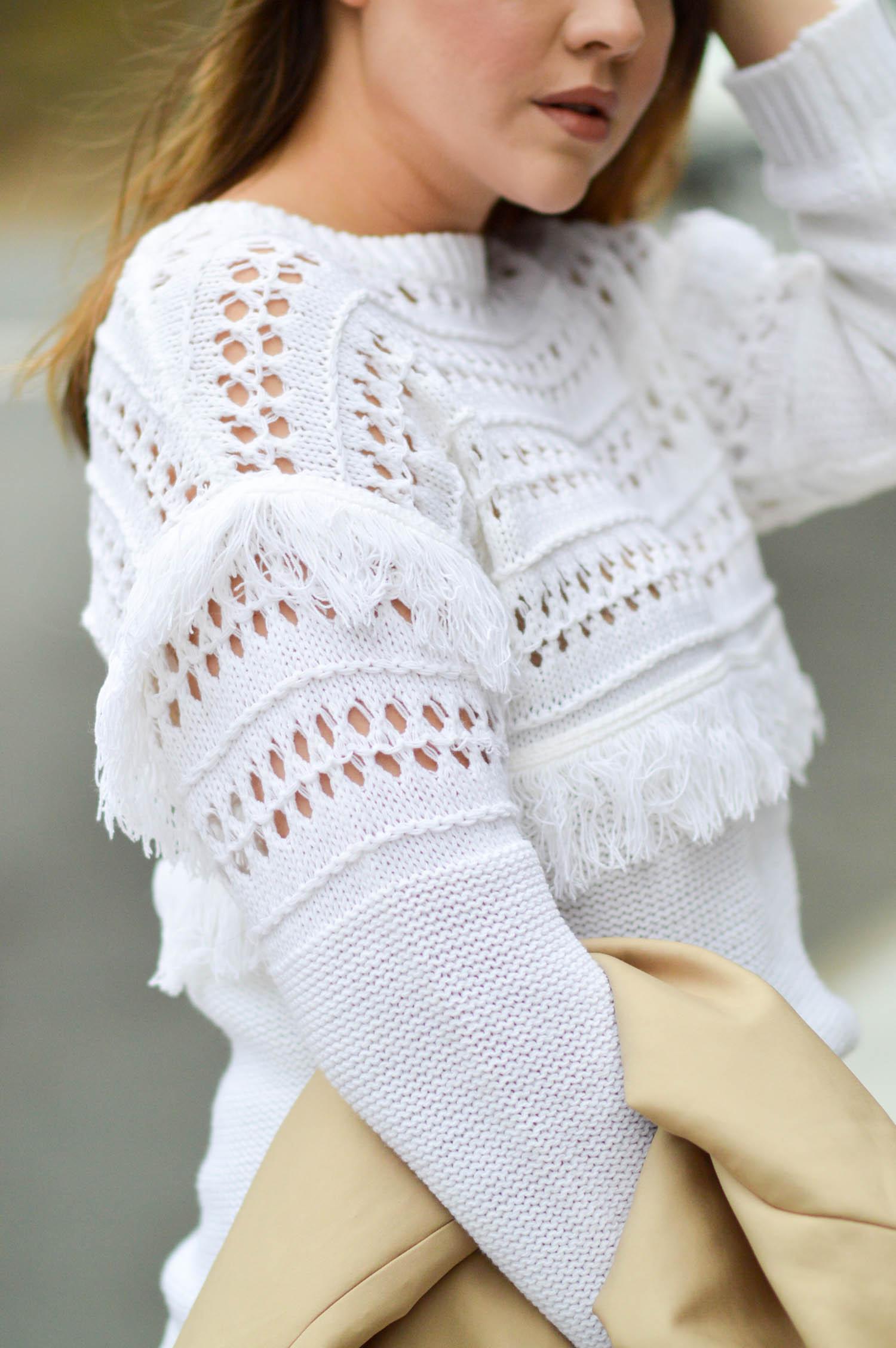 Fall Preview, Fringe Sweater and Velvet Skirt via. www.birdieshoots.com