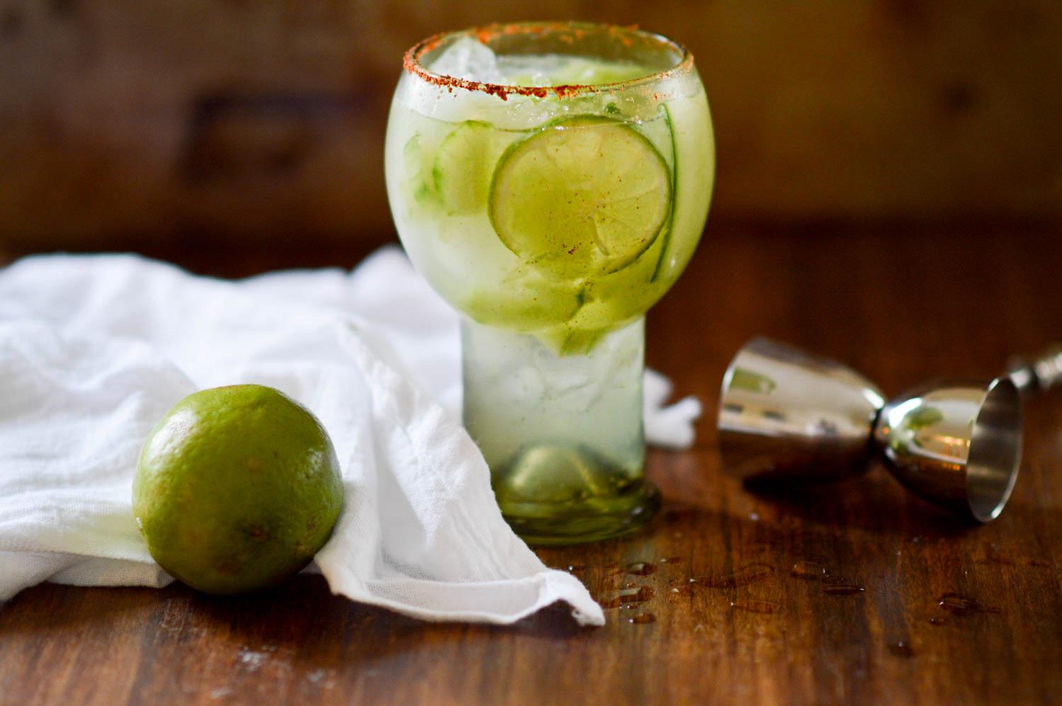 Spicy Cucumber Lime Margarita via. www.birdieshoots.com