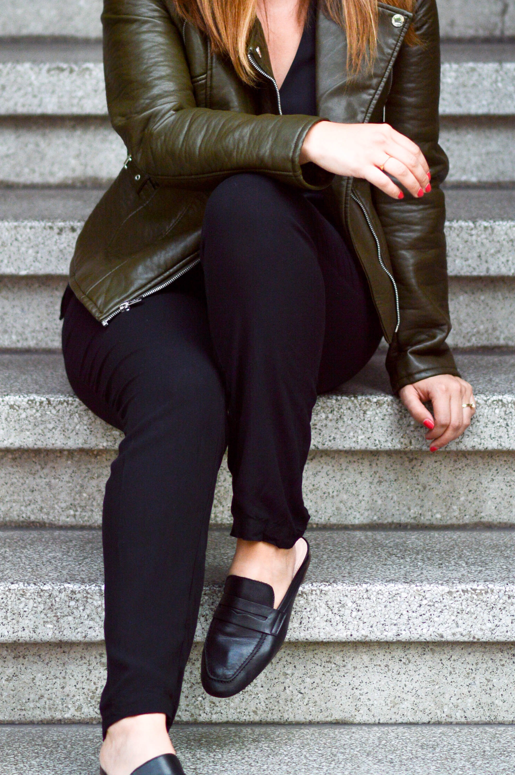 Green With Envy, leather jacket, choker top, oxford mules via. www.birdieshoots.com