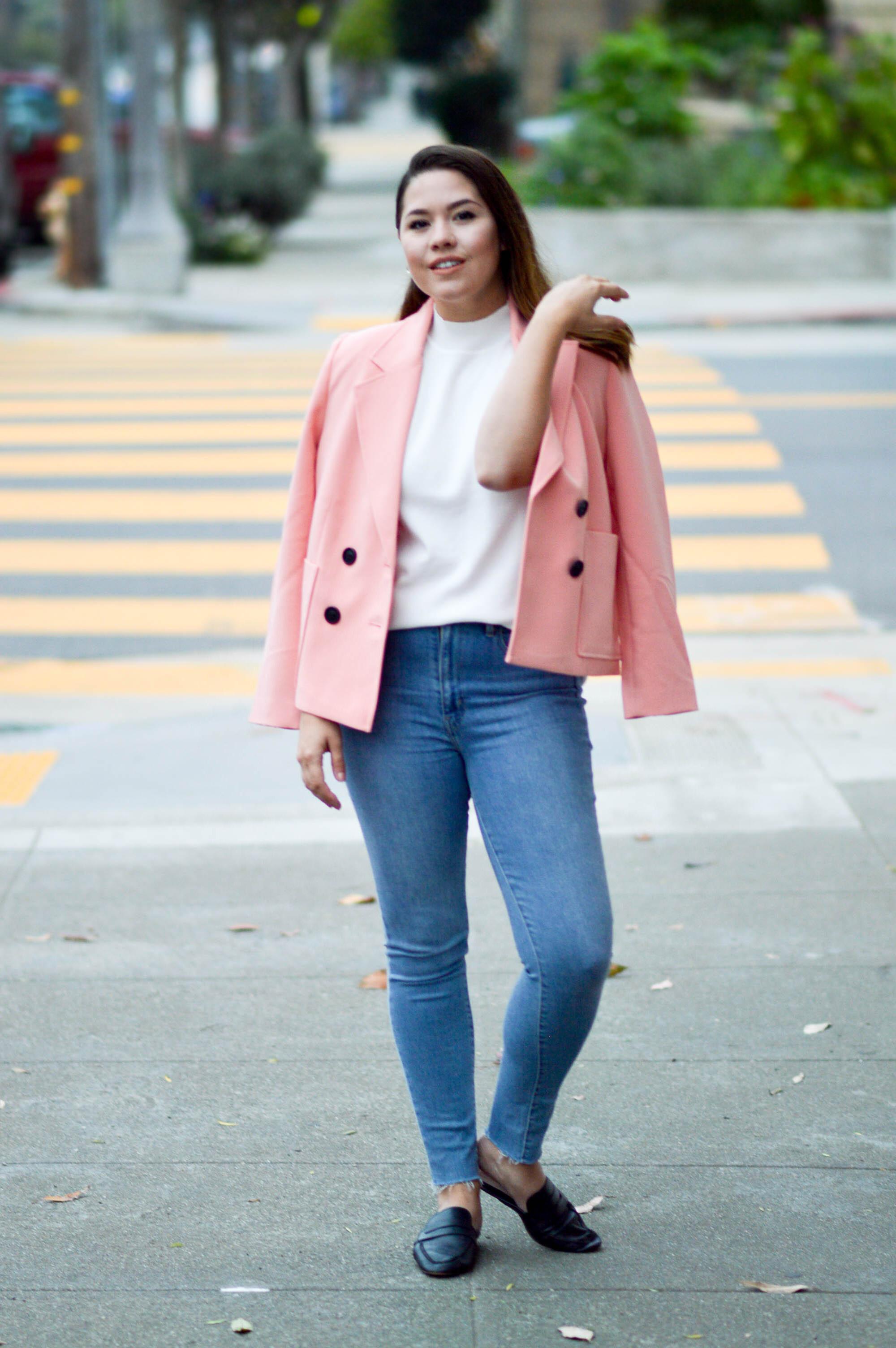 Pink Pastel Jacket and white turtleneck via. www.birdieshoots.com