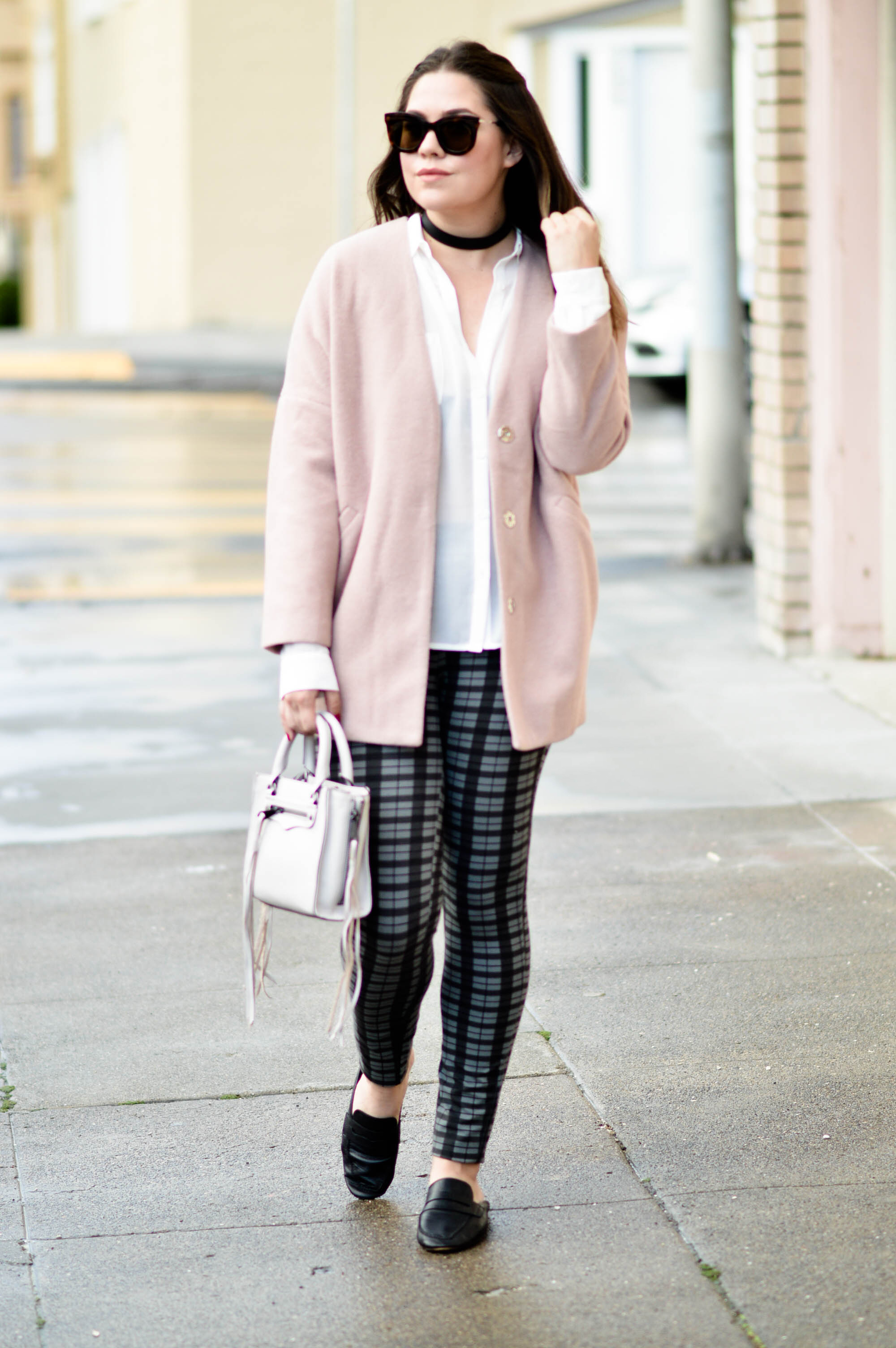 How to Wear Plaid Pants, Fall outfit with No nonsense via. www.birdieshoots.com