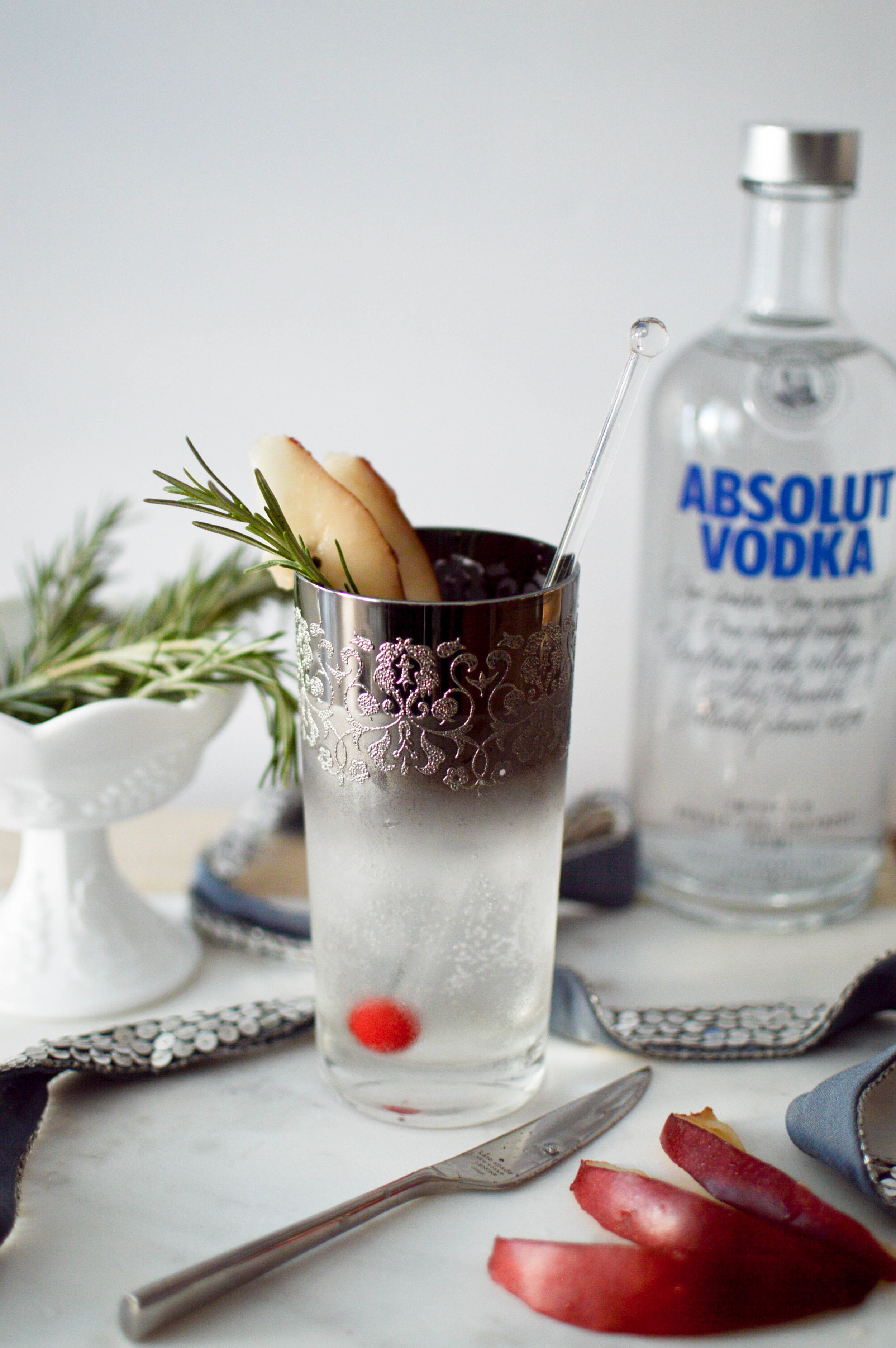 Sparkling Rosemary-Pear Cocktail with Absolut Vodka via. www.birdieshoots.com