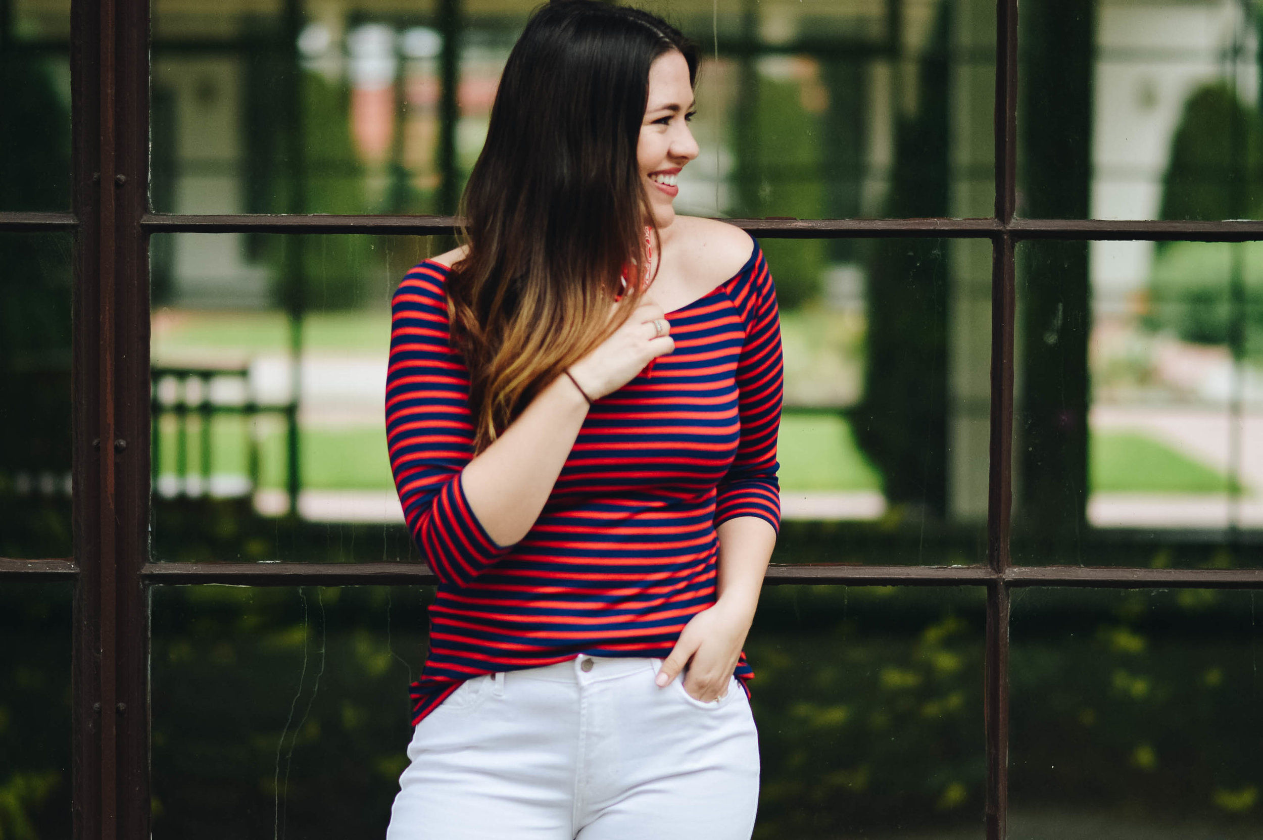 Nautical striped look | #SayHi To Spring with Old Navy via. www.birdieshoots.com