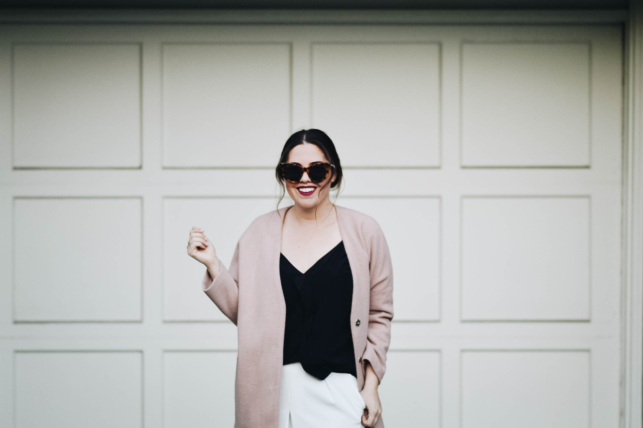 White Culottes, Pale Pink Coat and Black causal tank via. www.birdieshoots.com