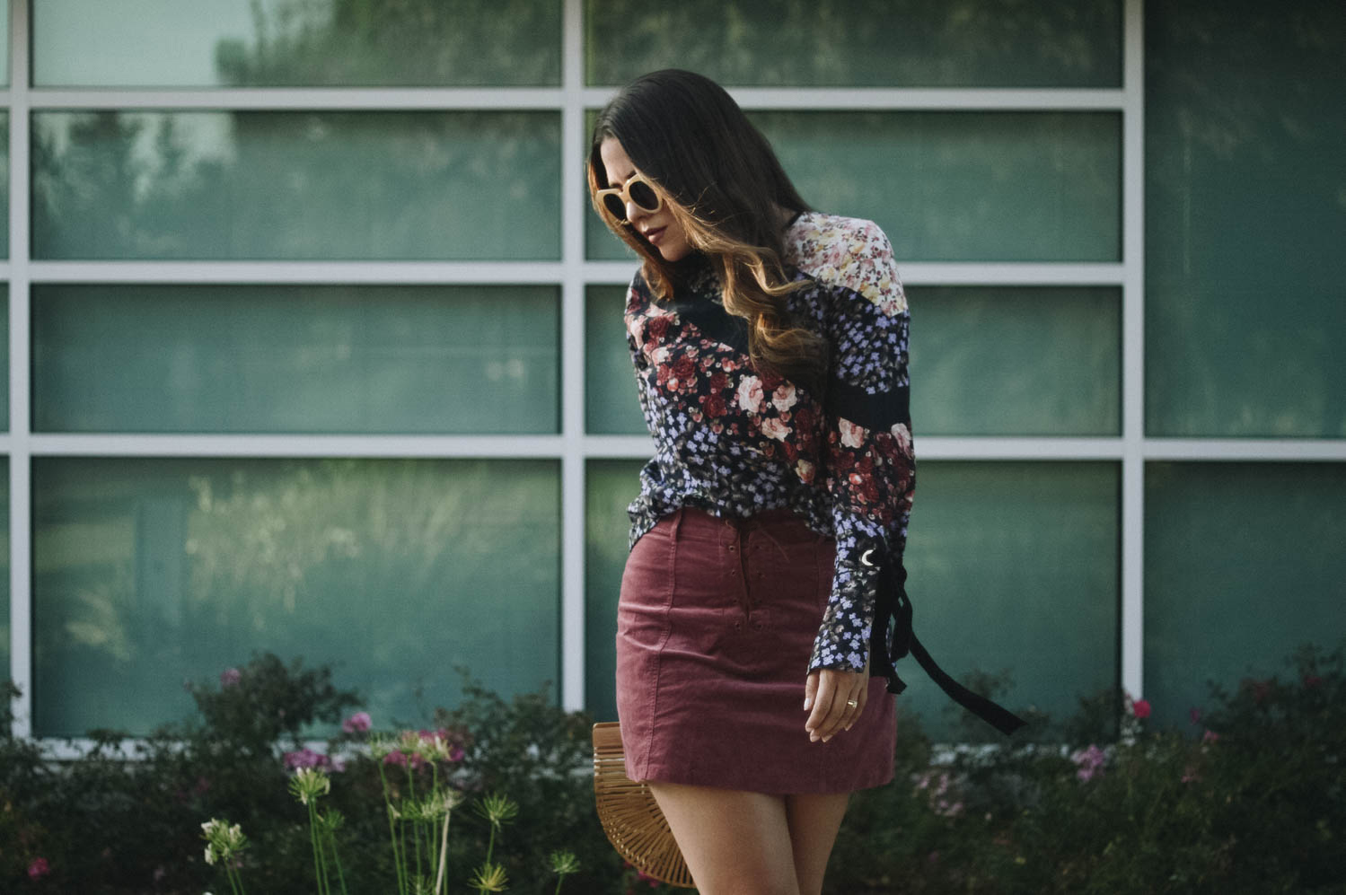 Flared long sleeves, lace-up mini and bamboo bag | How to Plan A Weeks Worth of Outfitsvia. www.birdieshoots.com
