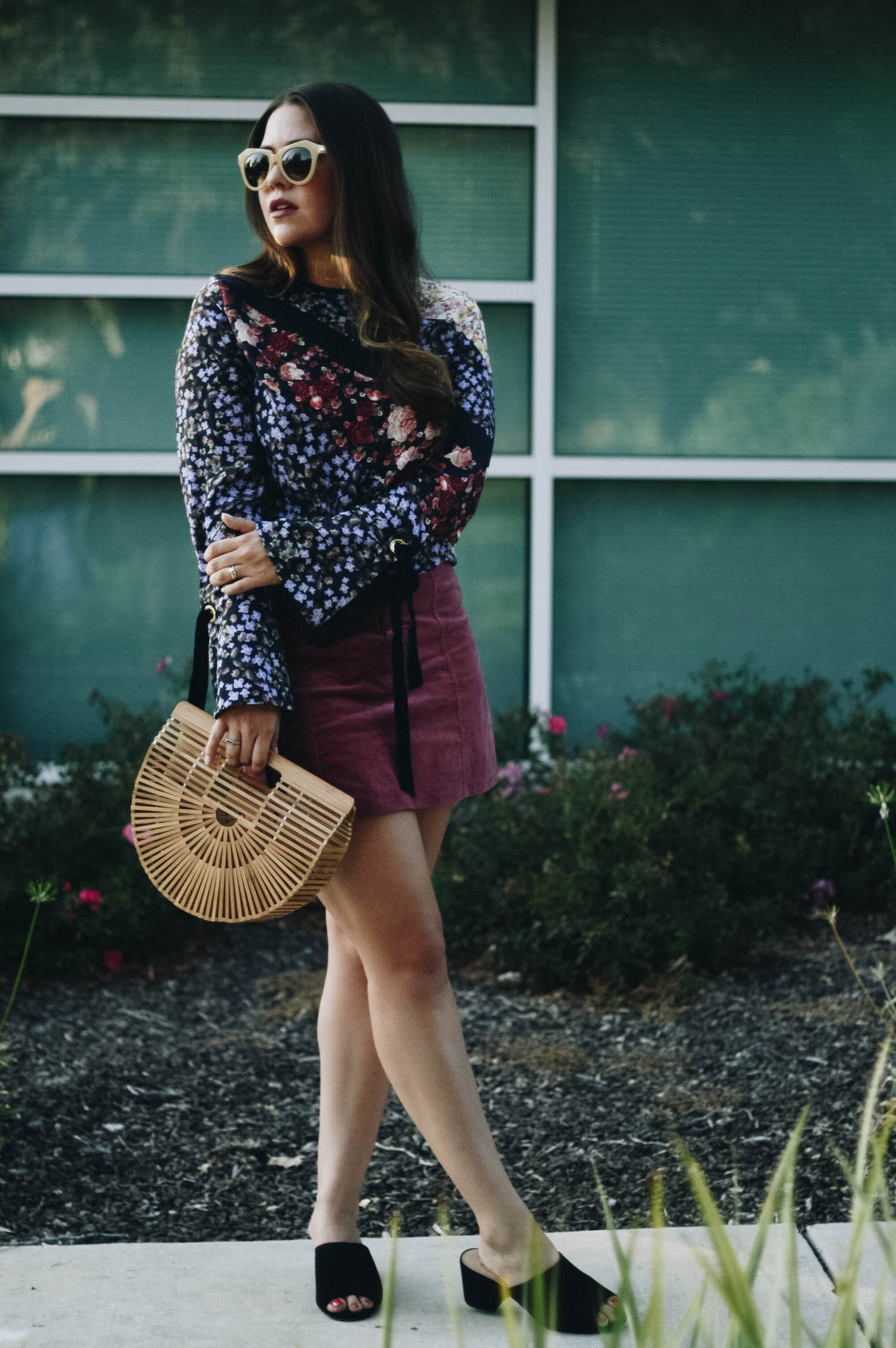 Flared long sleeves, lace-up mini and bamboo bag | How to Plan A Weeks Worth of Outfits via. www.birdieshoots.com