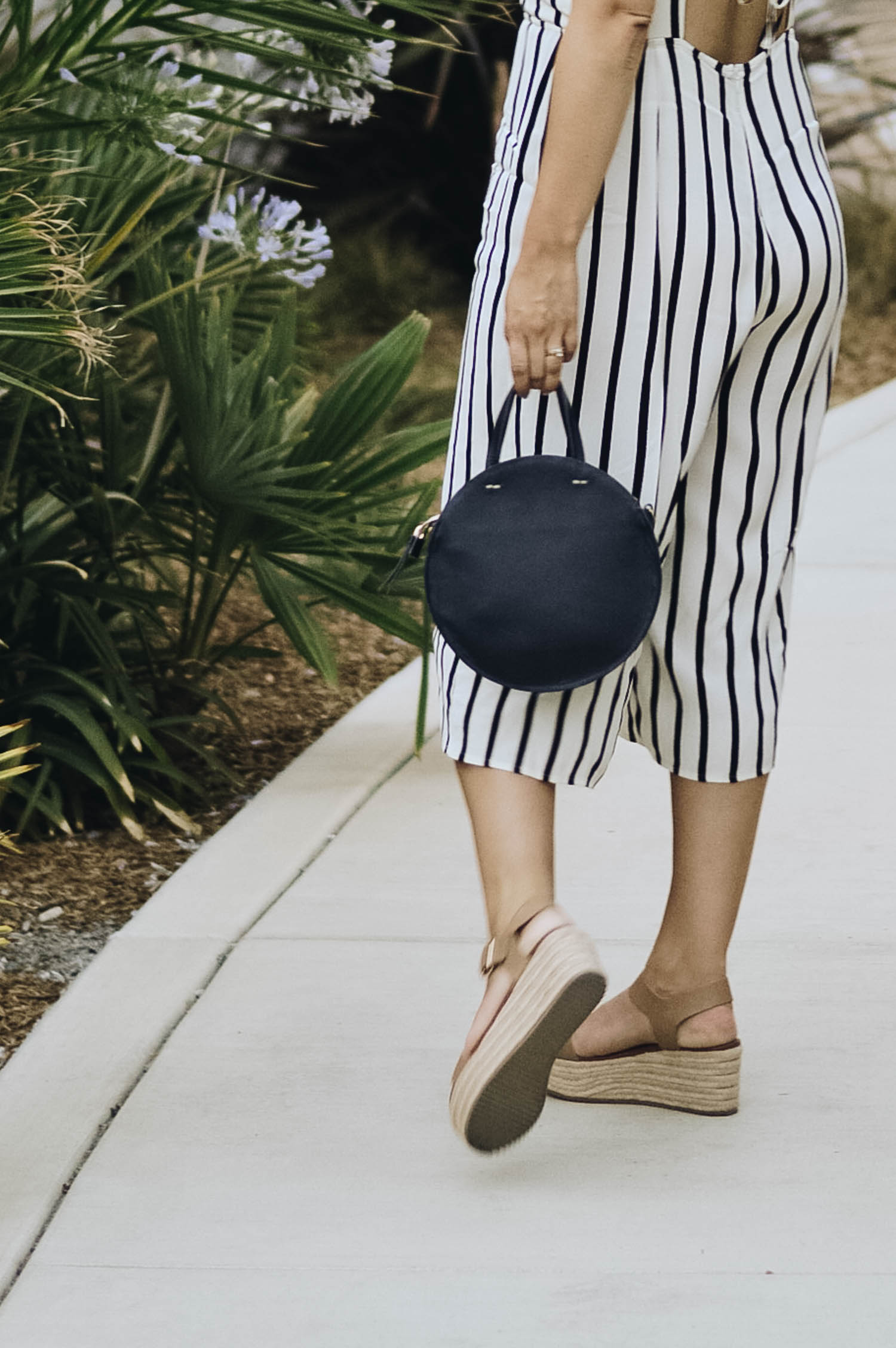 End of Season Style, How to Dress the Part | Striped Jumpsuit, Round Bag via. www.birdieshoots.com