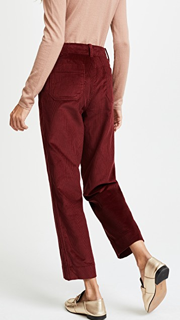 Colored Pants - This style is obviously one that has taken an influence from 60-70s styles. Either in a flared wide leg or high-waisted trouser are universal pants that will get plenty of wear in your winter wardrobe.  Two of my favorite ways to style these is with a cropped sweater or a long sleeve silk blouse. If you're looking to add another layer go for a long line shearling or belted suede coat.