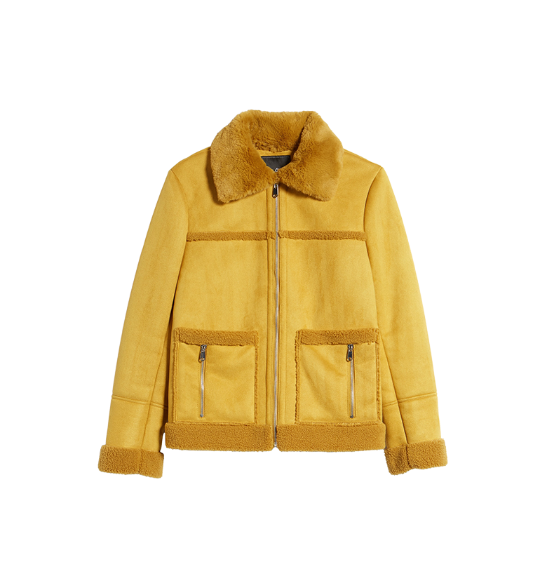 Faux Shearling Zip Front Jacket SAM EDELMAN