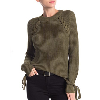 Poof - Lace-Up Long Sleeve Sweater is now 62% off.