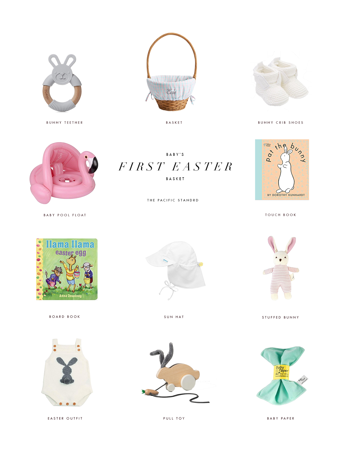 Great Ideas for Baby First Easter Basket via. The Pacific Standard | www.thepacificstandard.com