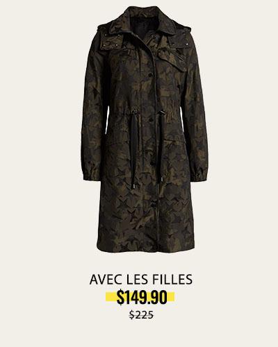 Files Camo Water Resistant Raincoat with Removable Hood, Alternate, color, MILITARY  Avec Les Files Camo Water Resistant Raincoat with Removable Hood   AVEC LES FILLES