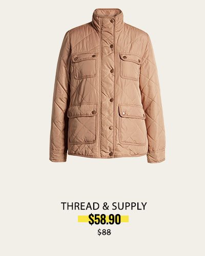 Fleece Lined Quilted Utility Jacket  THREAD & SUPPLY