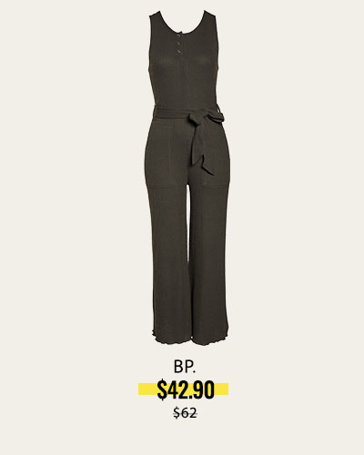 BELTED WAFFLE KNIT HENLEY JUMPSUIT