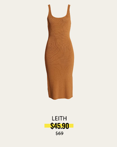 Wide Strap Sleeveless Midi Sweater Dress   LEITH