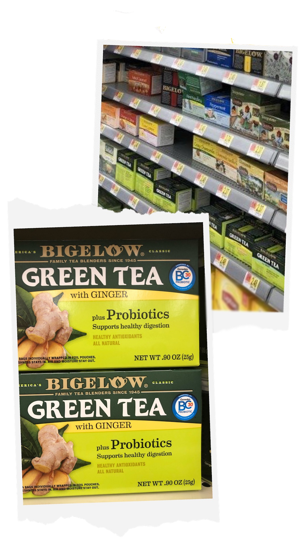 Bigelow tea can be found in the Tea aisle in Walmart stores!