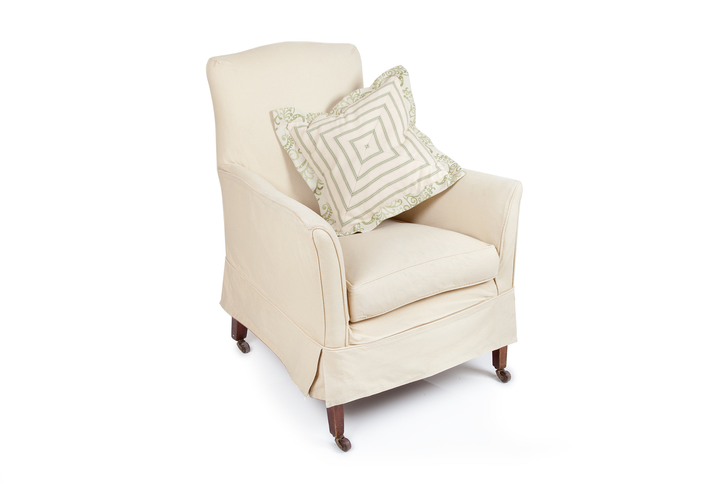 Parlour chair in calico with loose cover and feather and down cushion, brass castors