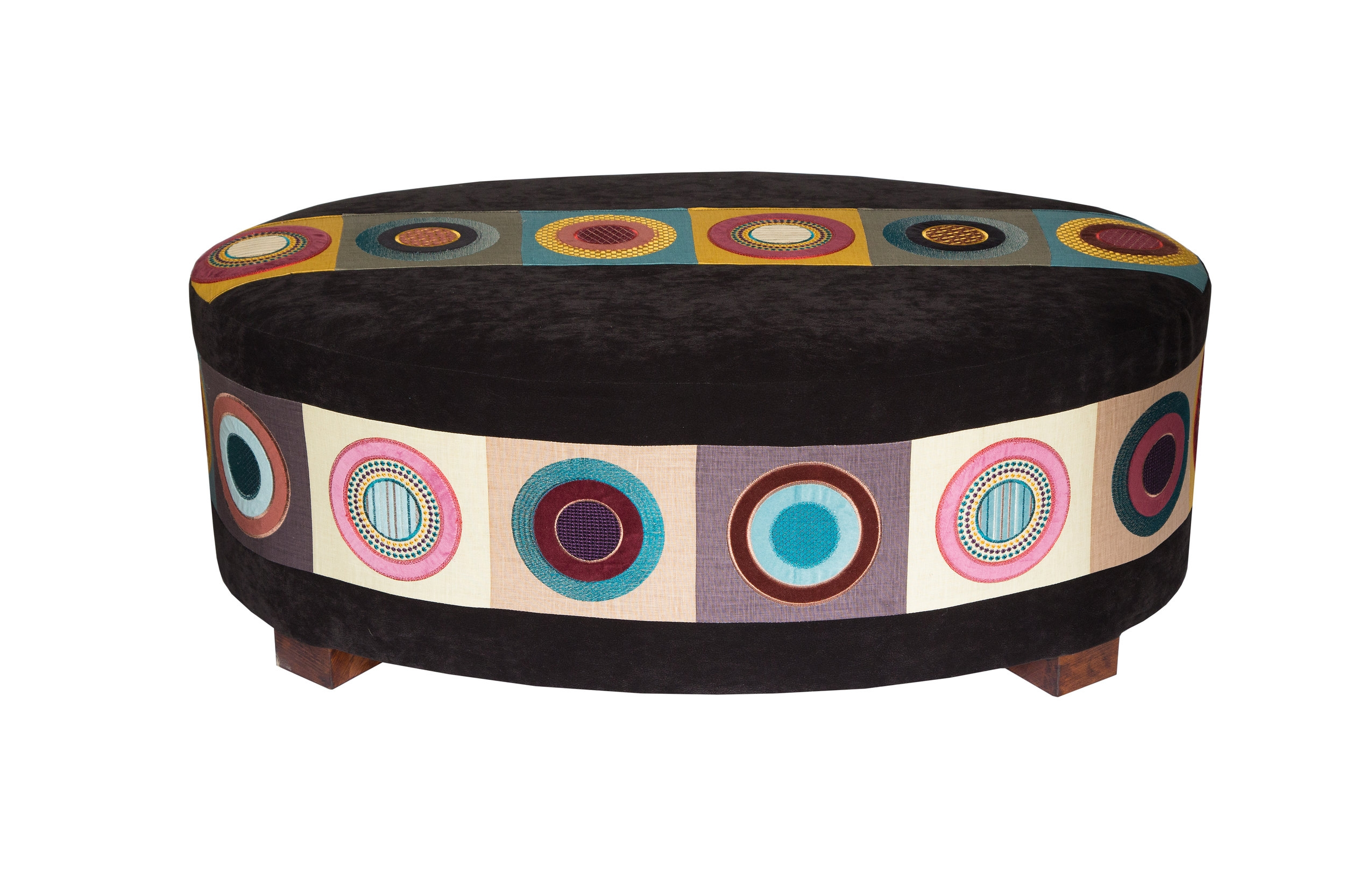 bespoke oval table stool in mulberry