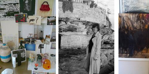 Left  :  The studio in Palermo, inspiration all over the wall. entre : Bondi Beach, Sydney. Right : Studio works in progress.