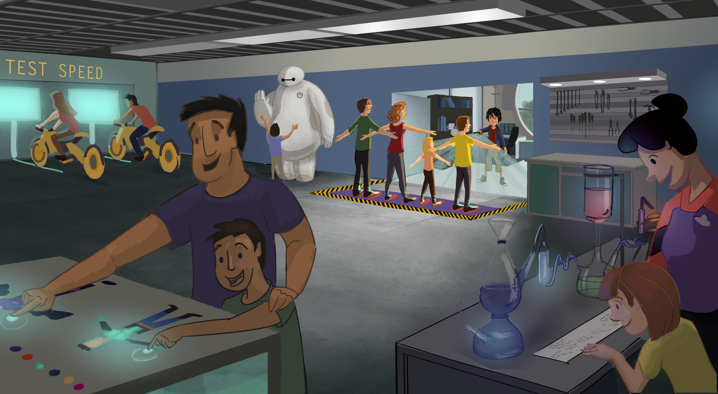 The Big Hero 6 Robotics lab, will give the opportunity for guests to explore new technologies and become a member of the team. Hiro will scan the new recruits and they will move to a touch table where they can customize their suit. Guests can also test Go-Go's bike, create new chemistry with Honey Lemon, and have a meet and greet with Baymax.
