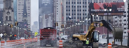 Construction on the M-1 rail project in Detroit's downtown.