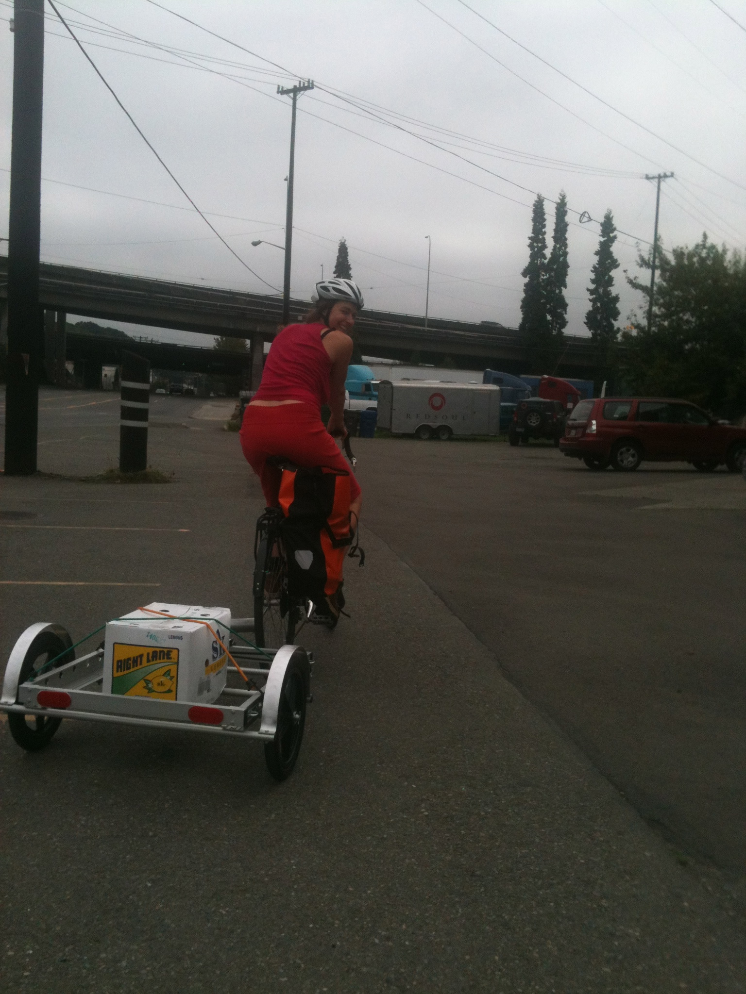 The Bicycle Trailer with a light load on an early September Seattle gray day.