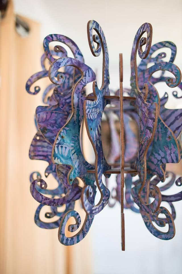 batik cotton & birch hanging fixture