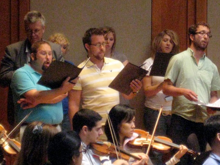 Rehearsal at Boston Early Music Festival with University of North Texas Collegium Musicum and Baroque Orchestra, 2010. Paul Leenhouts and Richard Sparks, conductors.
