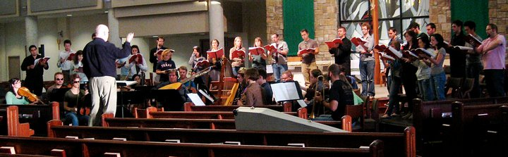 Rehearsal for Monteverdi's  Vespers of 1610,  University of North Texas Collegium Musicum and Baroque Orchestra, 2010. Richard Sparks, conductor.