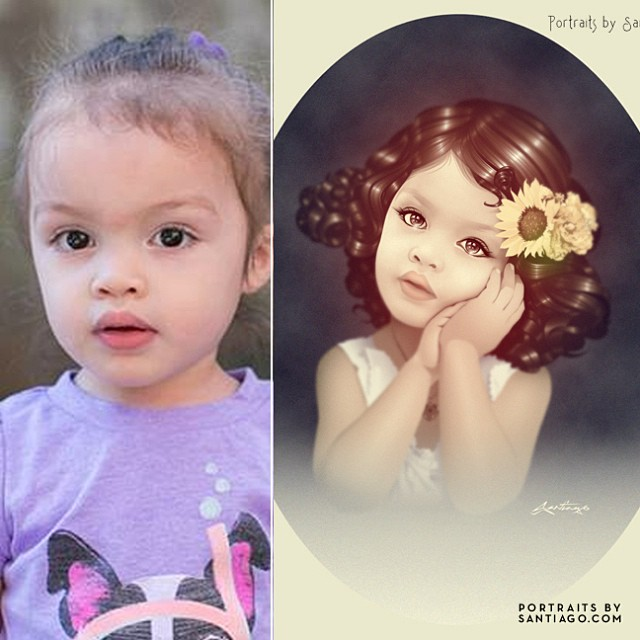 Portrait art Before and after