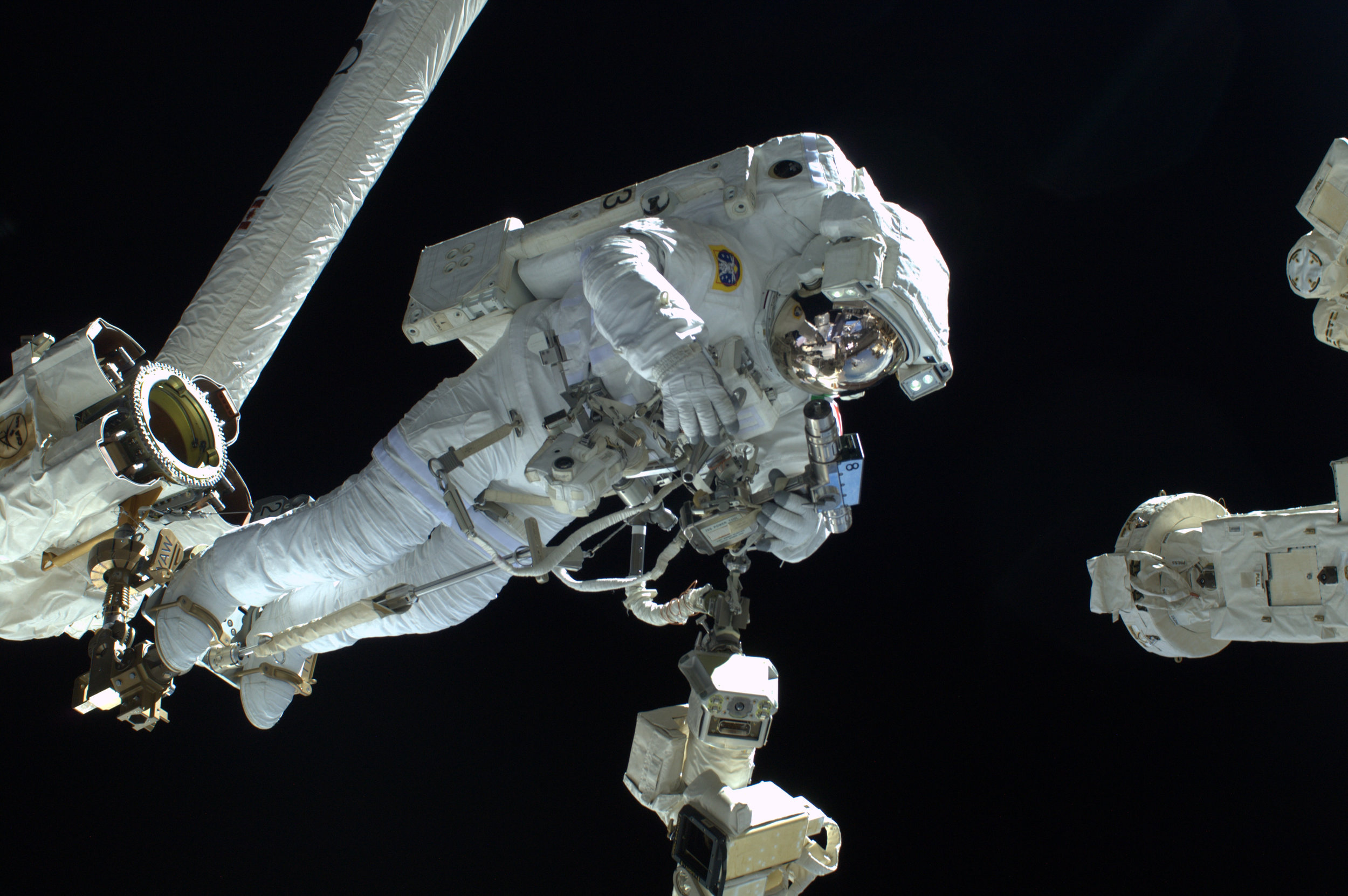 ESA astronaut Luca Parmitano during his first spacewalk for the Volare mission on the International Space Station, 9 July 2013.  Copyright ESA/NASA