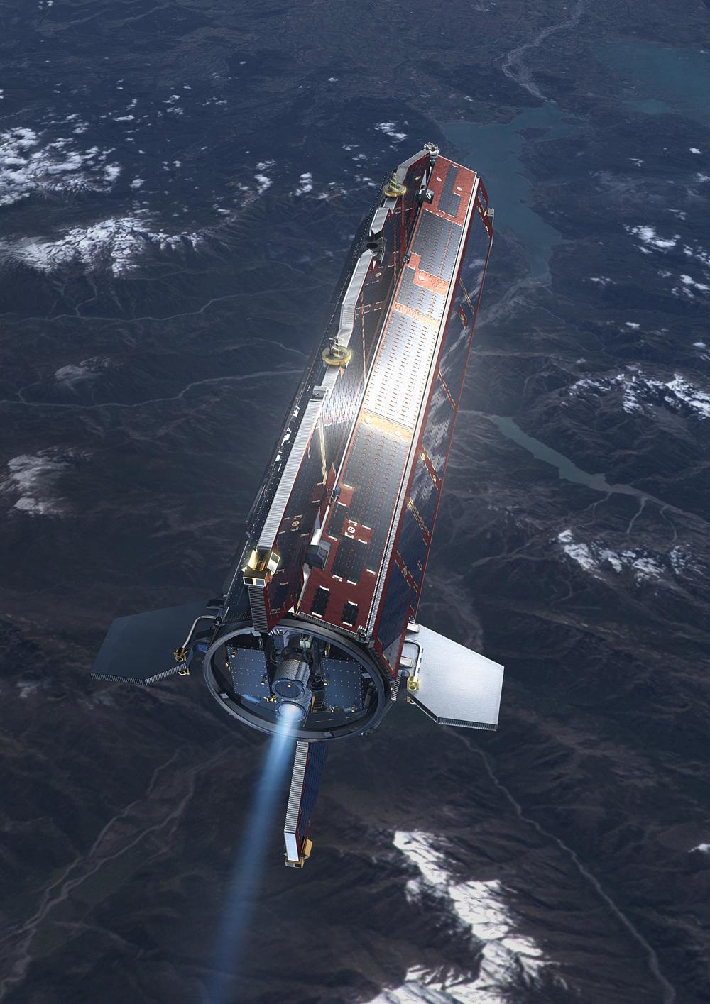 GOCE in orbit  CopyrightESA/AOES Medialab