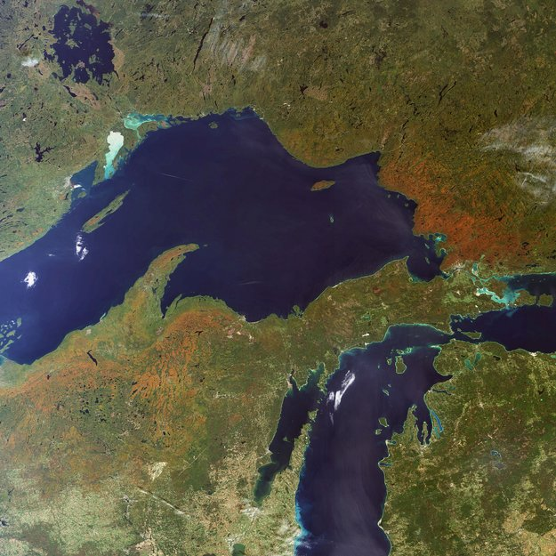 Fall foliage in the Great Lakes area-Copyright European Space Agency (ESA)