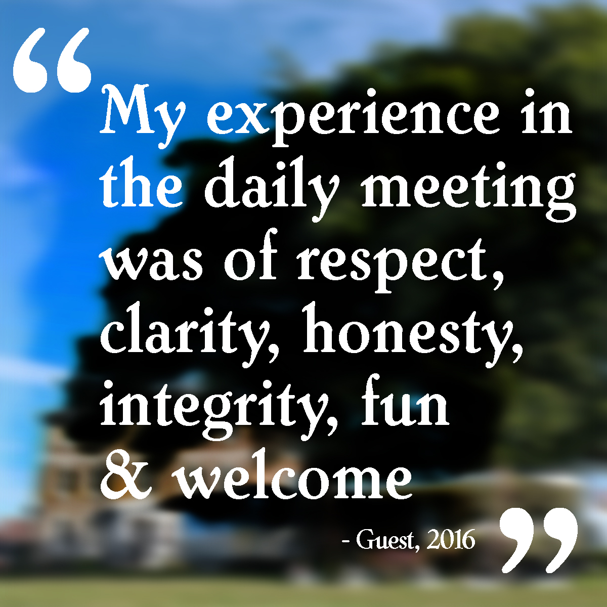 """My experience in the daily meeting was of respect, clarity, honesty, integrity, fun & welcome"""