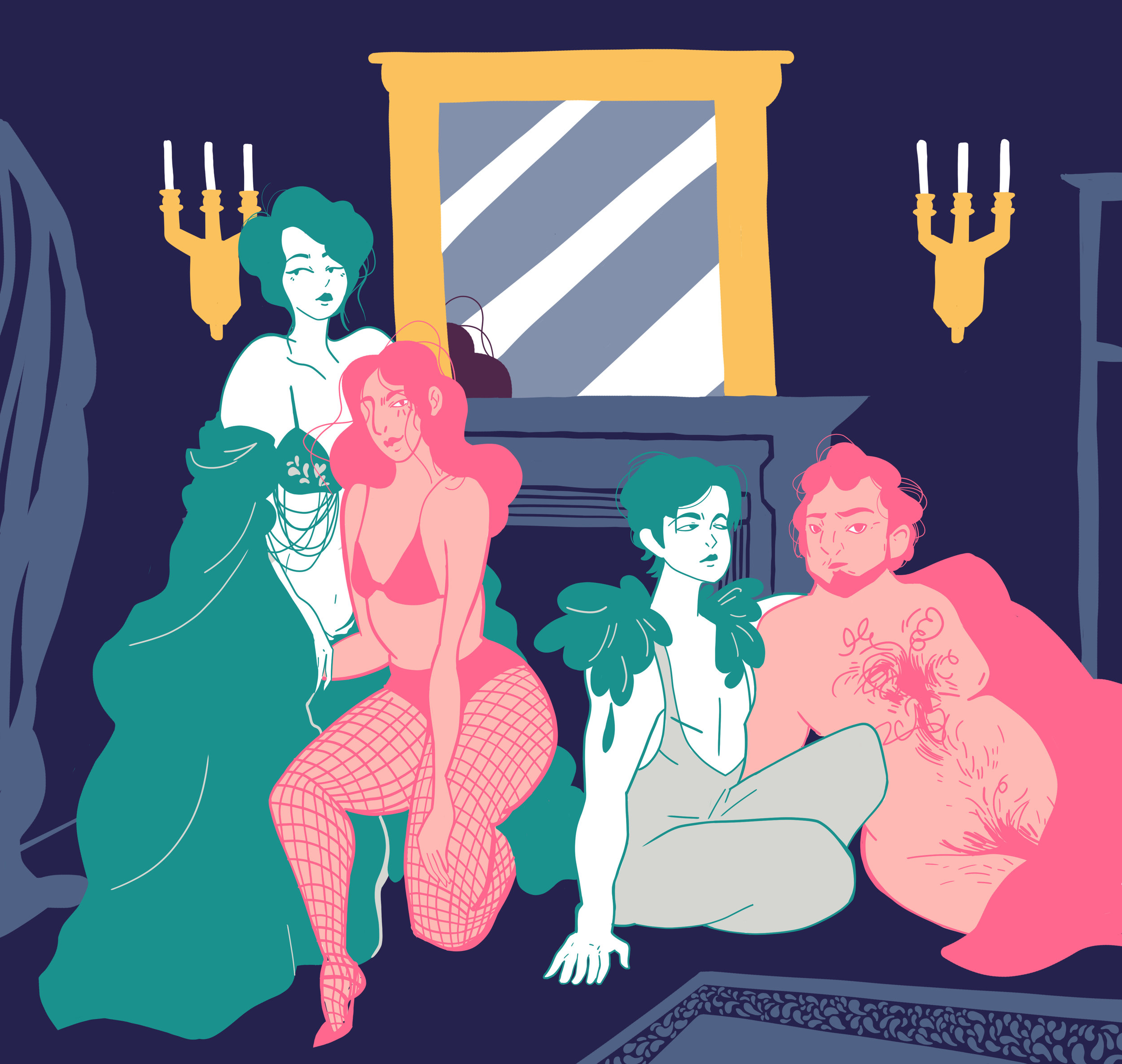 [Image description: an illustration of people seductively lounging in a luxurious interior]