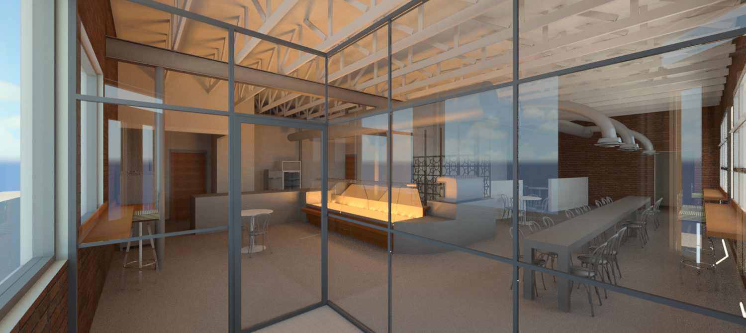 Virtual 3D rendering focusing on the display case placement in relationship to the entry.