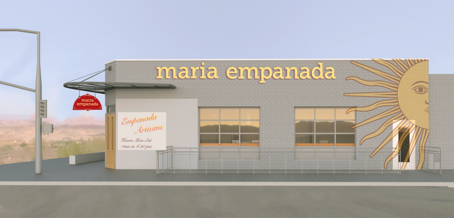 Exterior 3D rendering showing a new door, steel entry canopy and hanging signage configuration.